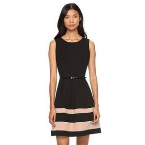 AB Studio black/tan flared belted dress Size 6 for sale